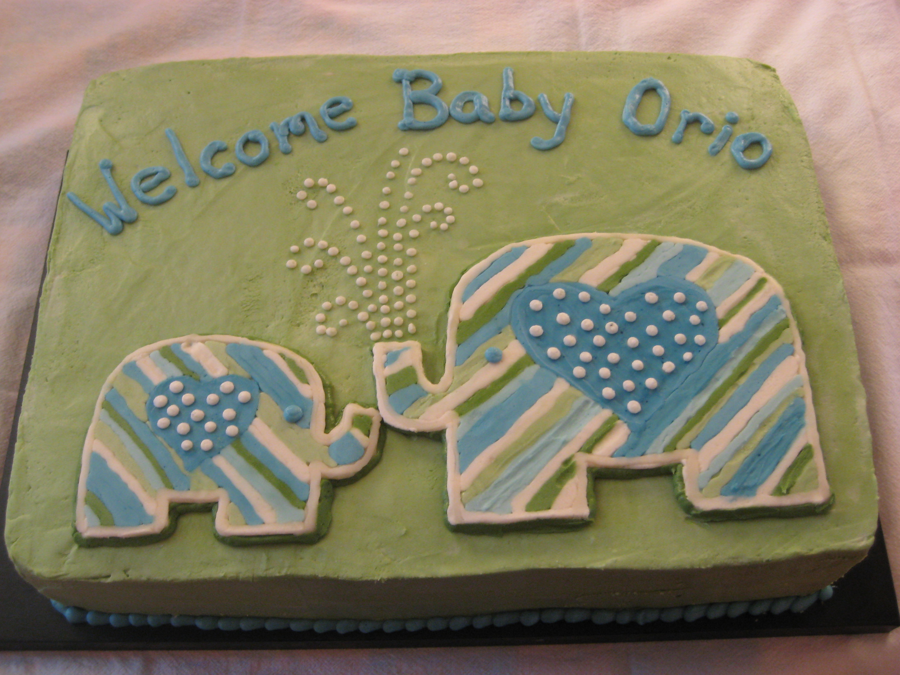 little elephant cake for a baby shower invite in all buttercream