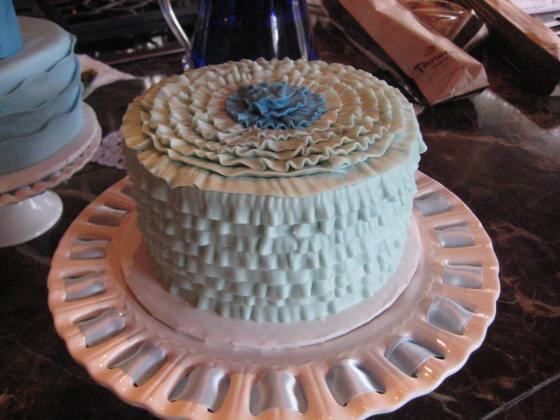 Blue Ruffle Cake