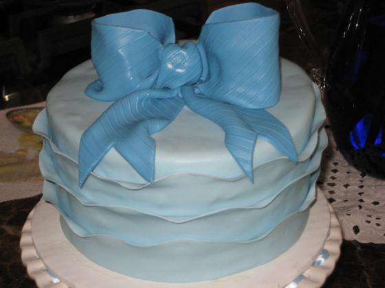 Blue bow and Ruffle cake