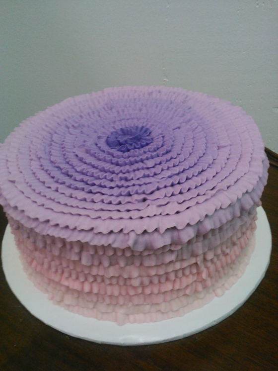 pink/purple ruffle cake
