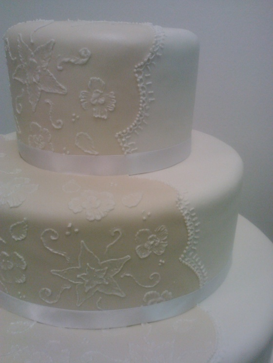 Embroidery wedding cake Close up